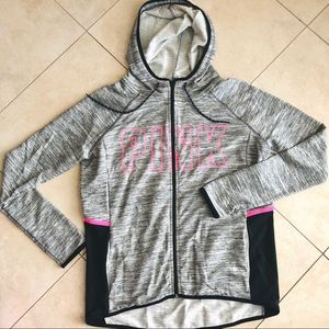 VS PINK Track Full Zip Jacket Hoodie Heather Gray